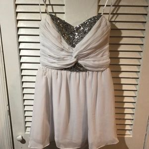 Strapless White Dress with Sequin Top
